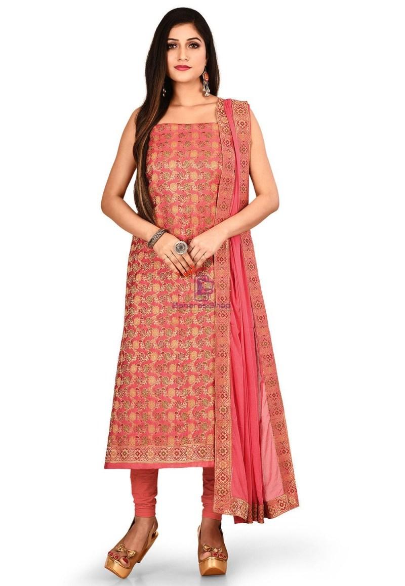 Woven Banarasi Silk Straight Suit in Pink 1
