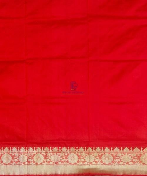 Banarasi Pure Katan Silk Handloom Ruby Red Saree 7
