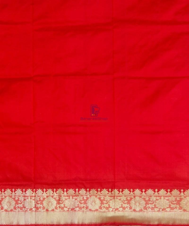 Banarasi Pure Katan Silk Handloom Ruby Red Saree 4