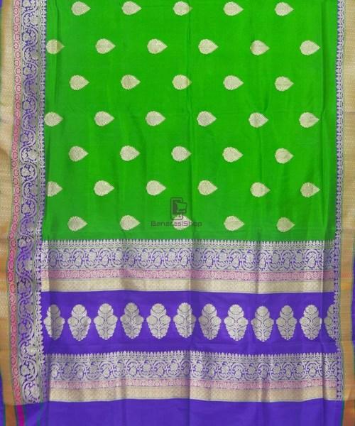 Banarasi Pure Katan Silk Handloom Parrot Green Saree 5
