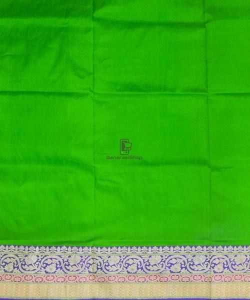 Banarasi Pure Katan Silk Handloom Parrot Green Saree 7