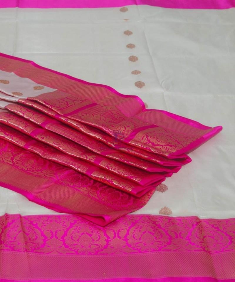 Banarasi Pure Katan Silk Handloom Off White Saree 1