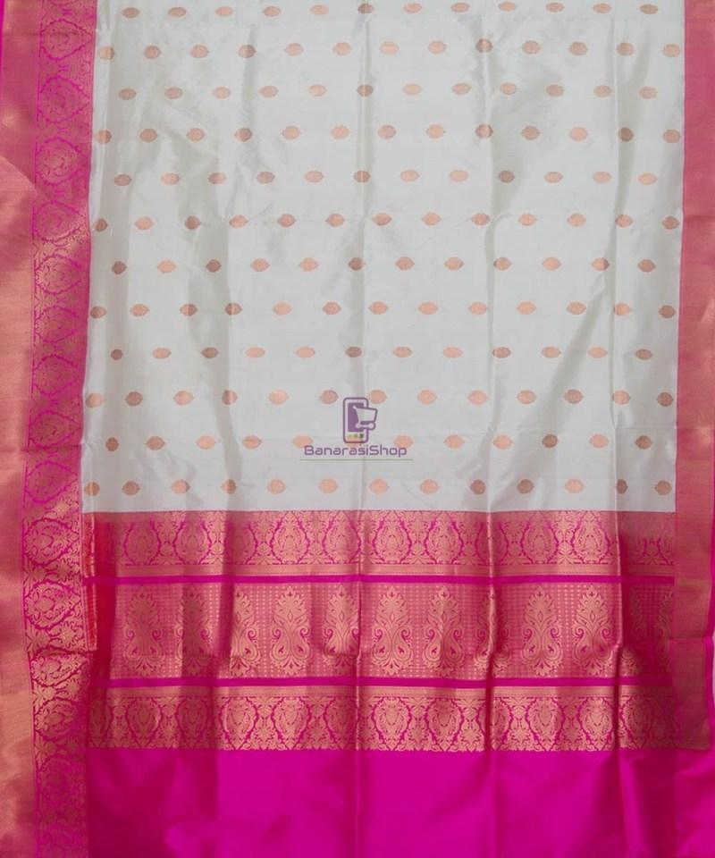 Banarasi Pure Katan Silk Handloom Off White Saree 2