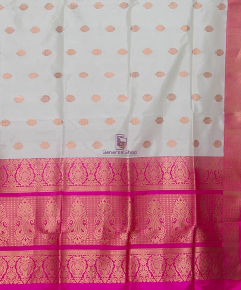 Banarasi Pure Katan Silk Handloom Off White Saree 3