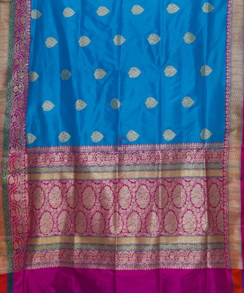 Banarasi Pure Katan Silk Handloom Blue and Purple Saree 5