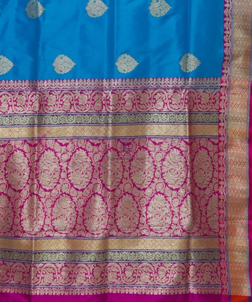 Banarasi Pure Katan Silk Handloom Blue and Purple Saree 6