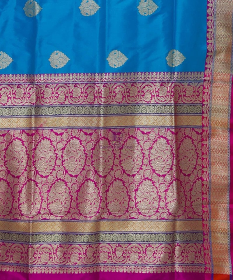 Banarasi Pure Katan Silk Handloom Blue and Purple Saree 3