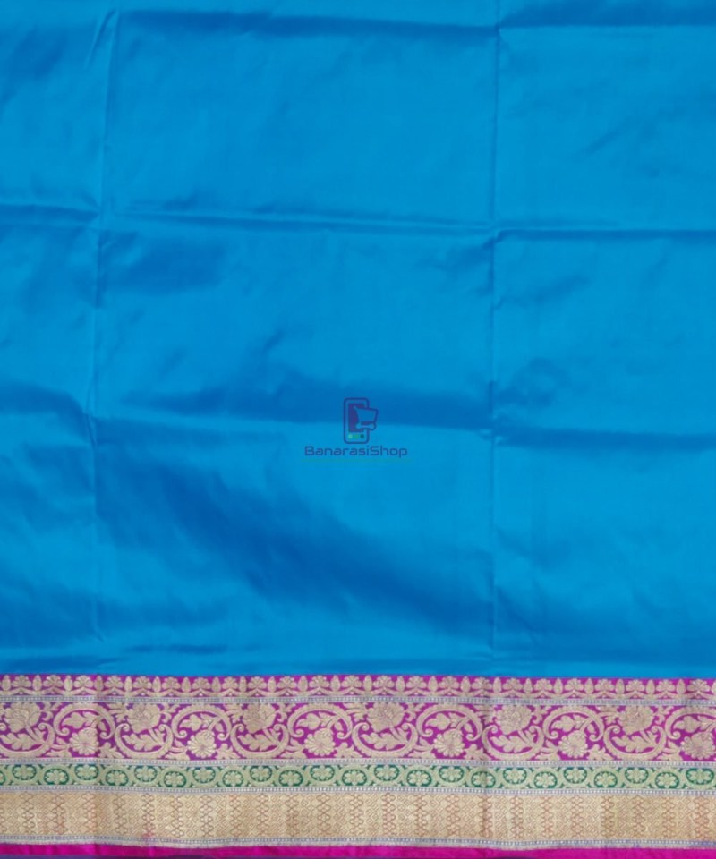 Banarasi Pure Katan Silk Handloom Blue and Purple Saree 4