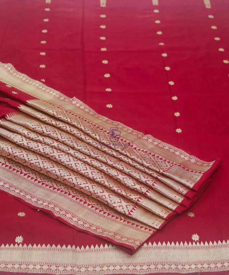 Banarasi Pure Katan Silk Handloom Maroon Saree 1