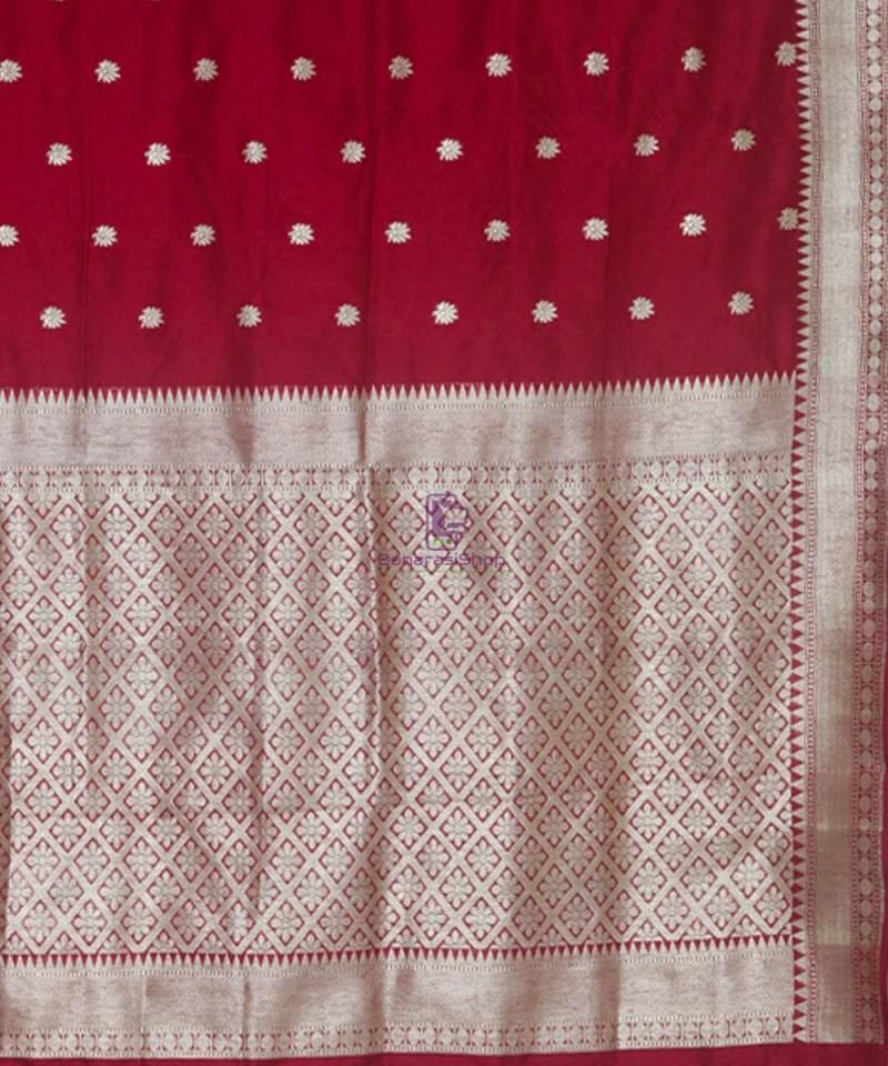 Banarasi Pure Katan Silk Handloom Maroon Saree 3