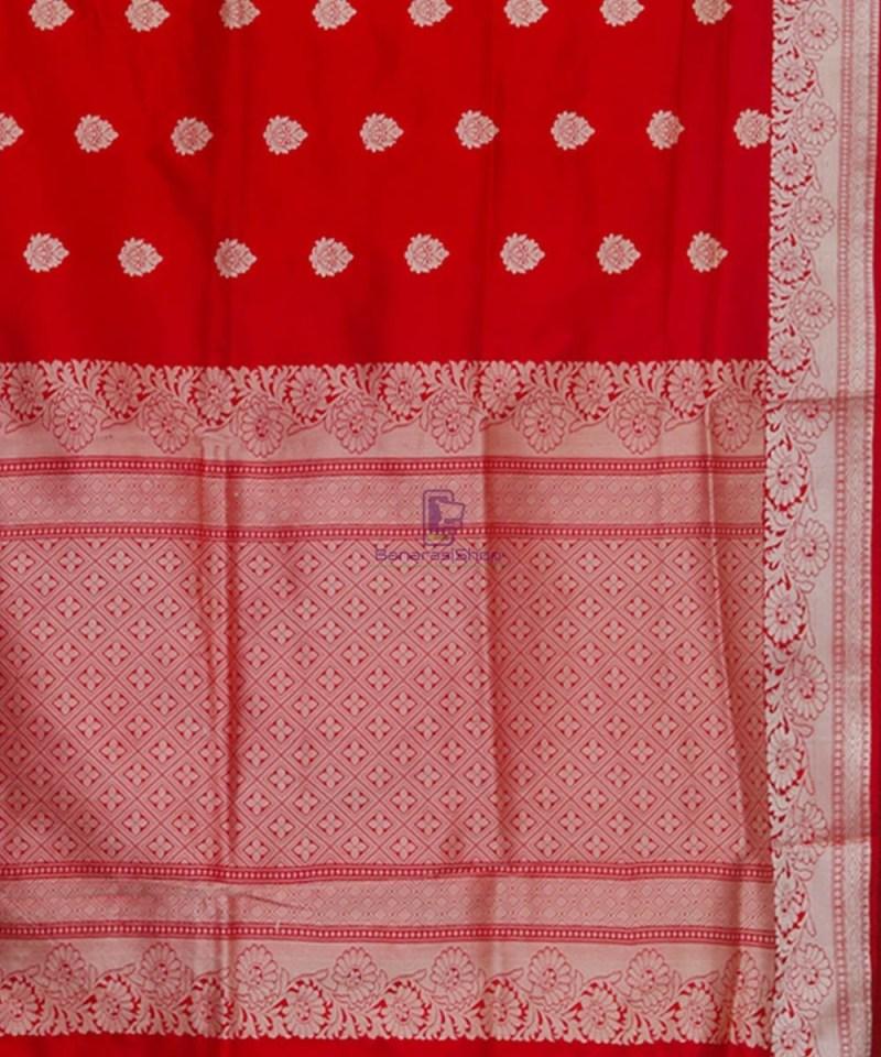 Banarasi Pure Katan Silk Handloom Cherry Red Saree 3