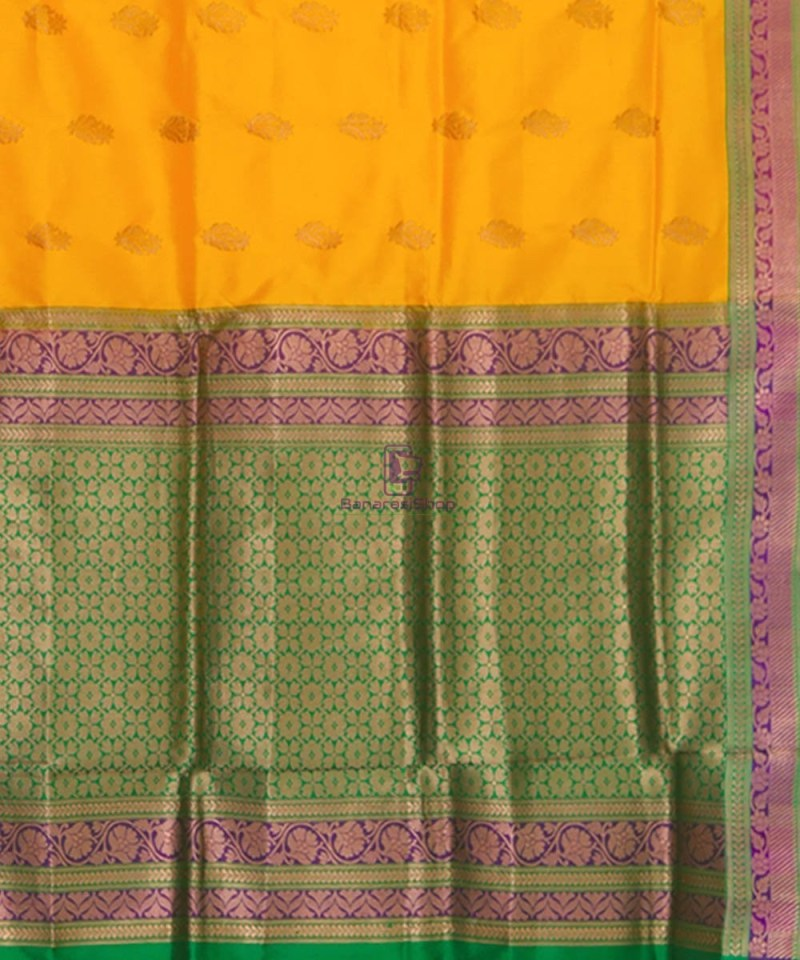 Banarasi Pure Katan Silk Handloom Yellow Green Saree 3