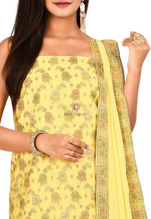 Woven Banarasi Art Silk Straight Suit in Yellow 3