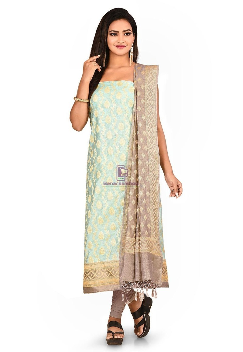 Woven Banarasi Cotton Silk Straight Suit in Blue 1