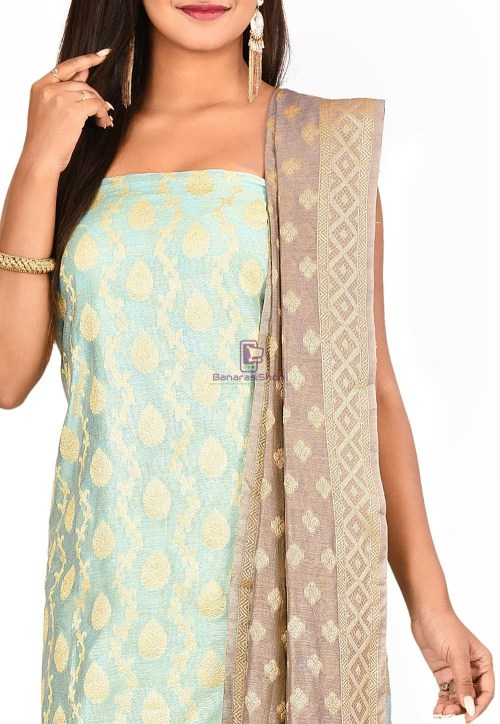 Woven Banarasi Cotton Silk Straight Suit in Blue 3