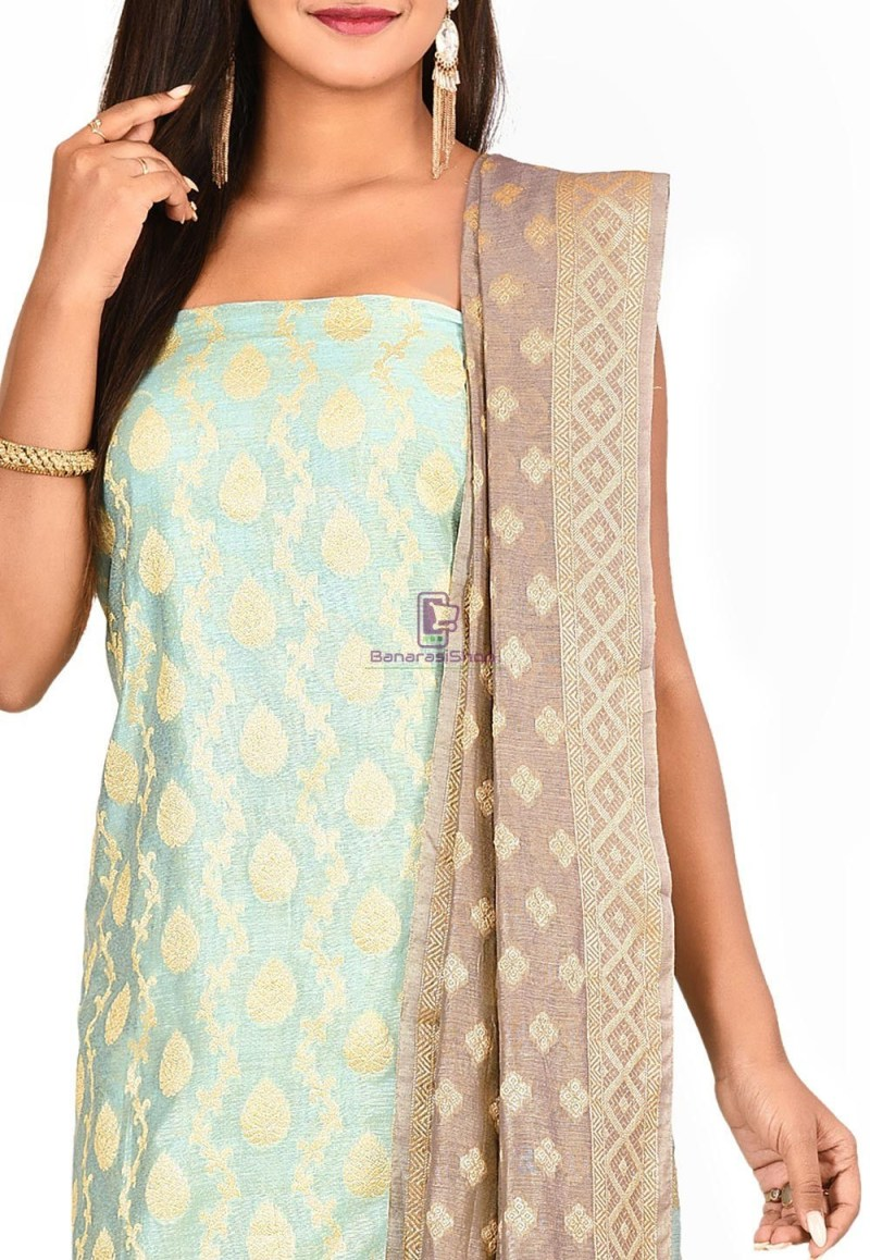 Woven Banarasi Cotton Silk Straight Suit in Blue 2