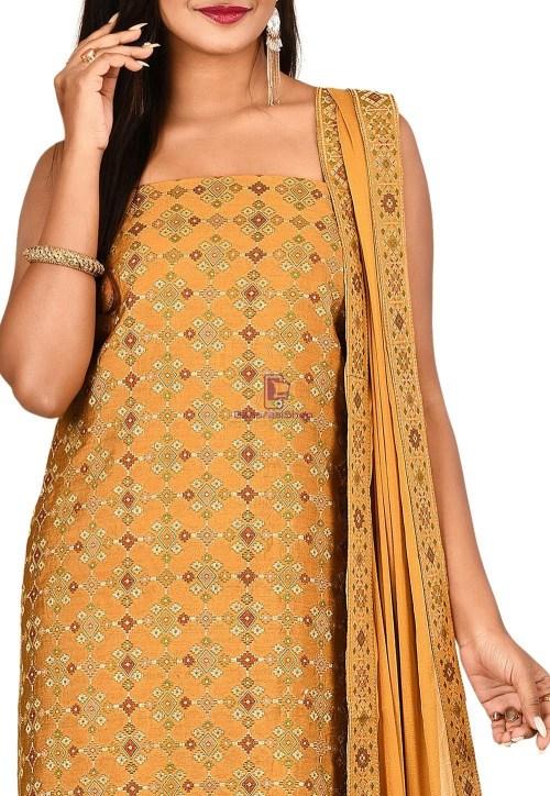 Woven Banarasi Cotton Silk Straight Suit in Brown 3