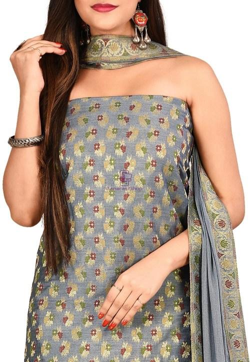 Woven Banarasi Cotton Silk Straight Suit in Grey 3