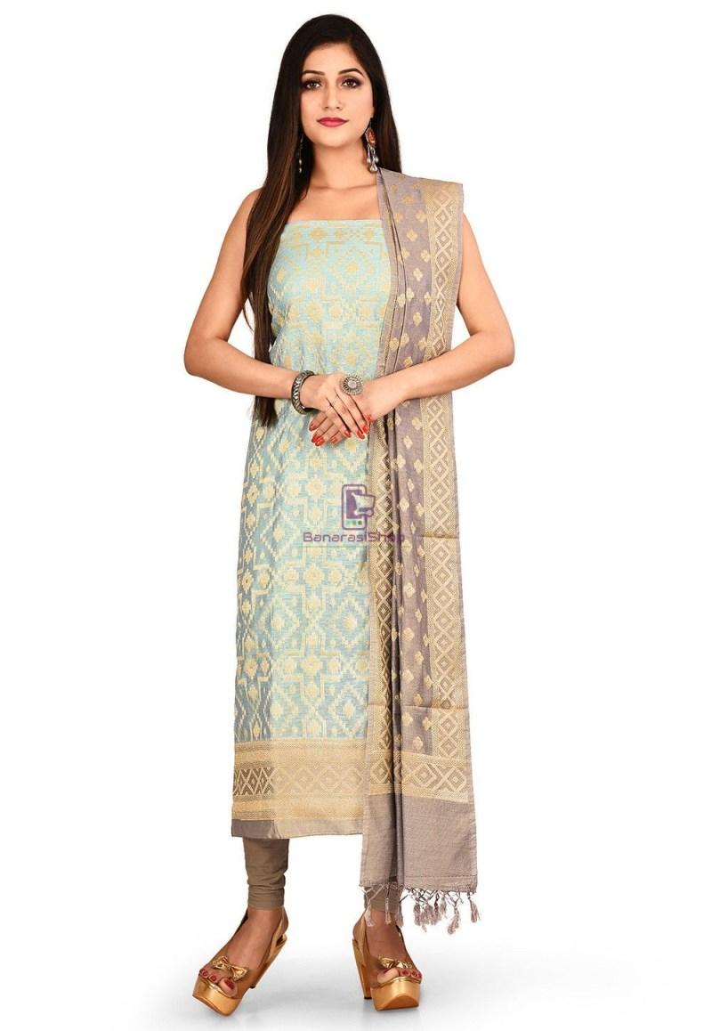 Woven Banarasi Cotton Silk Straight Suit in Light Blue 1