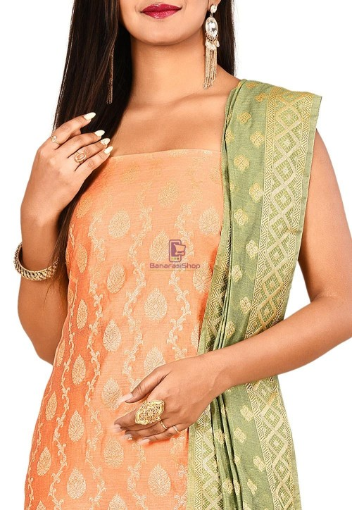 Woven Banarasi Cotton Silk Straight Suit in Peach 3