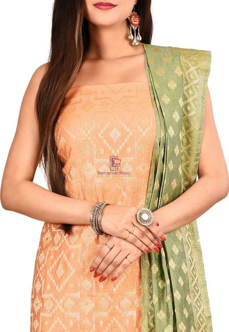 Woven Banarasi Cotton Silk Straight Suit in Peach 2