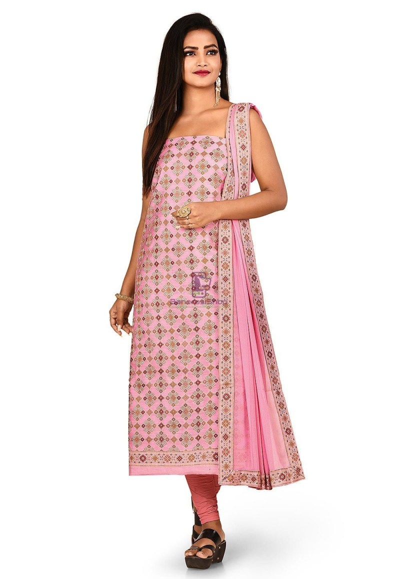 Woven Banarasi Cotton Silk Straight Suit in Pink 1
