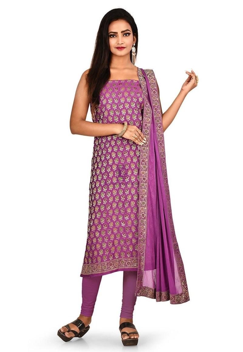 Woven Banarasi Cotton Silk Straight Suit in Purple 1