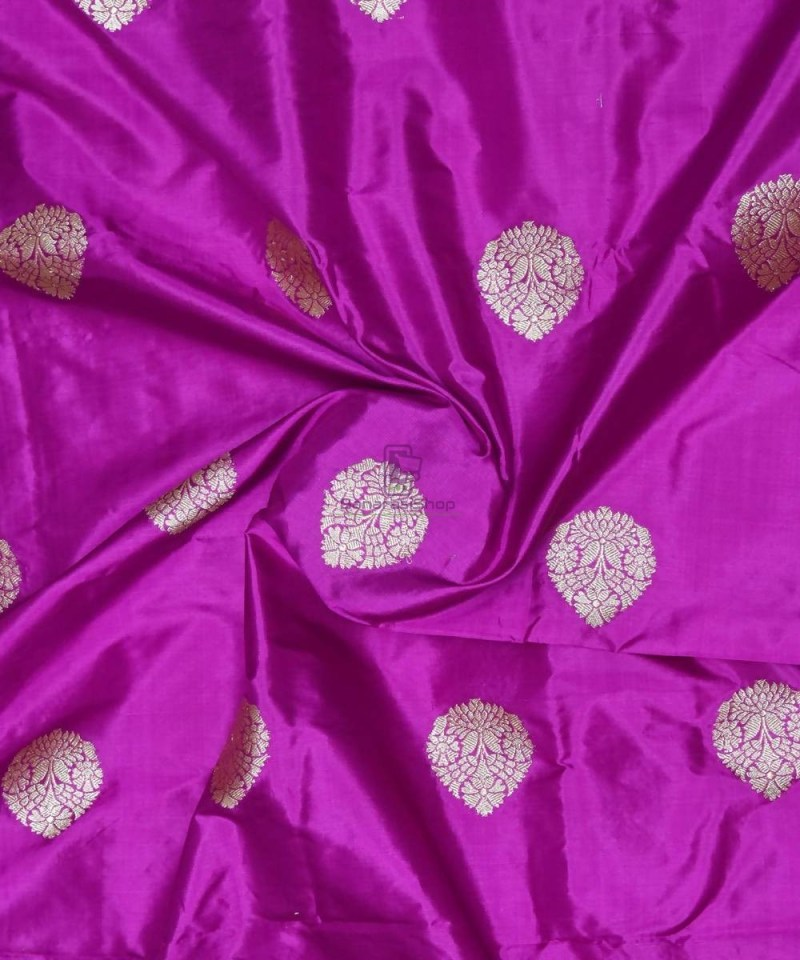 Banarasi Pure Handloom Katan Silk Fabric in Purple 1