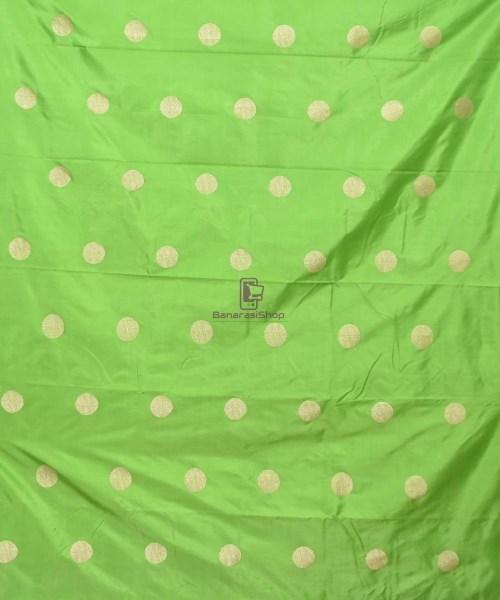 Banarasi Pure Handloom Katan Silk Fabric in Pear Green 3