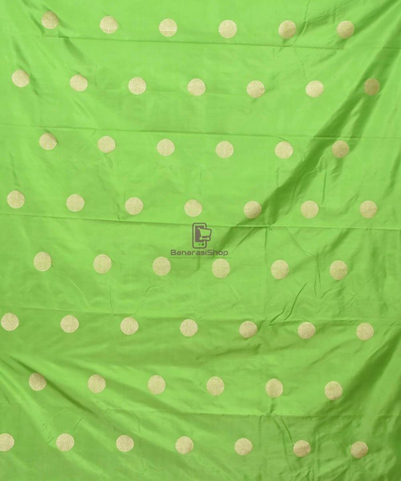Banarasi Pure Handloom Katan Silk Fabric in Pear Green 2
