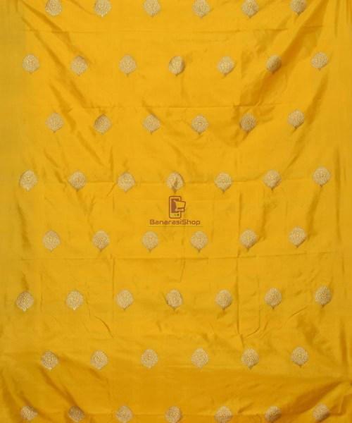 Banarasi Pure Handloom Katan Silk Fabric in Yellow 3