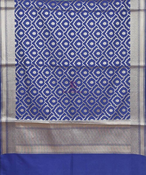 Woven Banarasi Art Silk Dupatta in Navy Blue 3