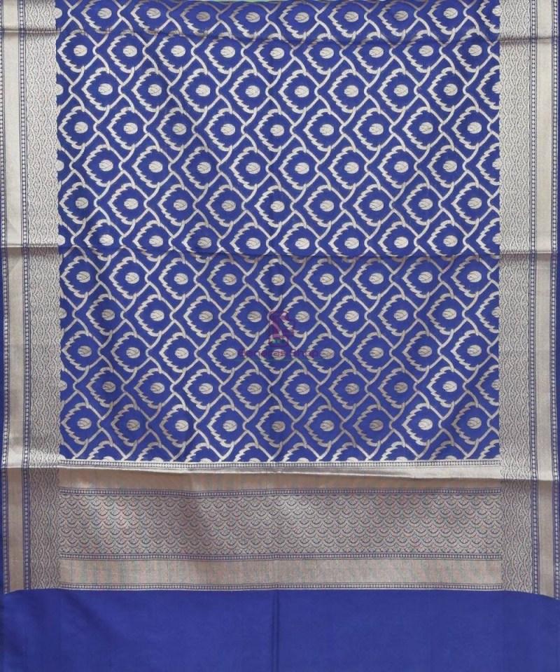 Woven Banarasi Art Silk Dupatta in Navy Blue 2