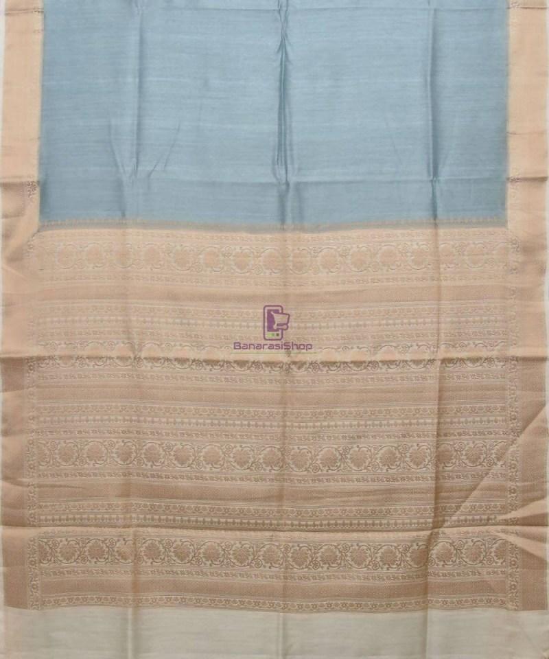 Woven Pure Muga Silk Banarasi Saree in Stone Blue 1