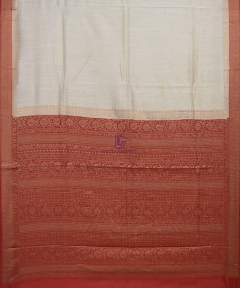 Woven Pure Muga Silk Banarasi Saree in Bone White 1