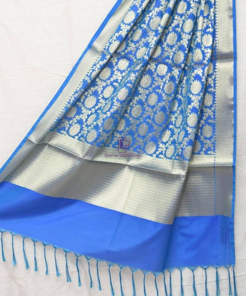 Woven Banarasi Art Silk Dupatta in Cobalt Blue 1
