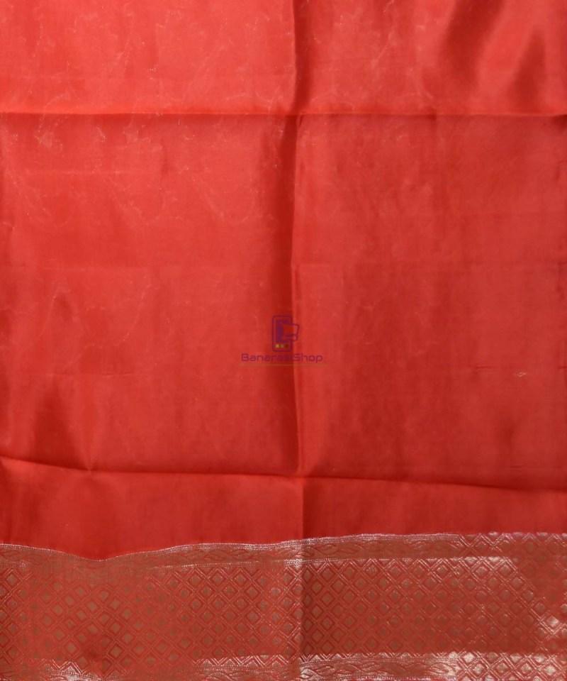 Pure Silk Banarasi Dupion Katan Handloom Saree in Rust Orange 4