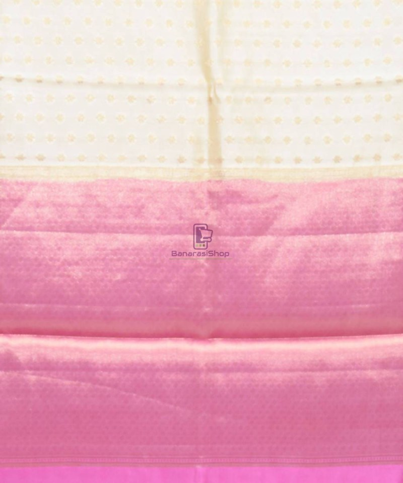Pure Silk Banarasi Dupion Katan Handloom Saree in Off White 3