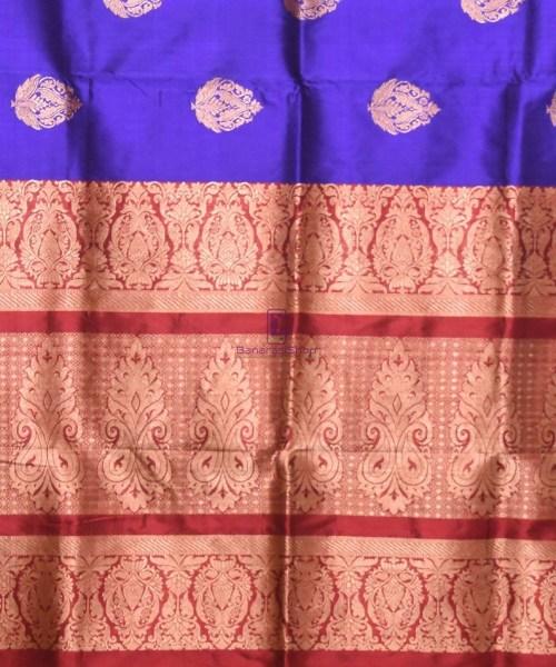 Banarasi Pure Katan Silk Handloom Navy Blue Saree 6