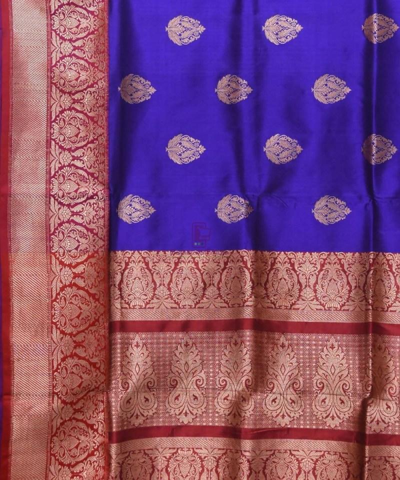 Banarasi Pure Katan Silk Handloom Navy Blue Saree 2