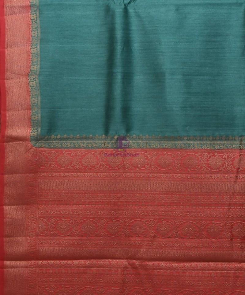 Woven Pure Muga Silk Banarasi Saree in Green 2