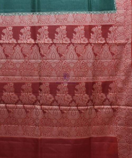 Woven Pure Tussar Silk Banarasi Saree in Dark Green 6