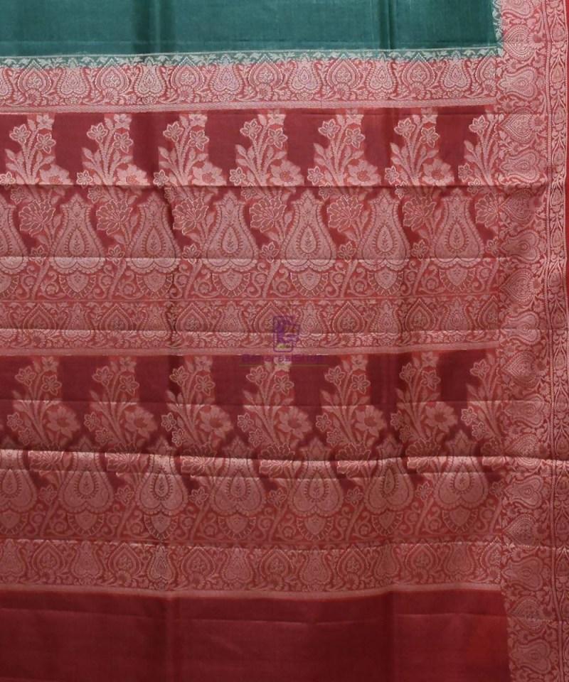 Woven Pure Tussar Silk Banarasi Saree in Dark Green 3