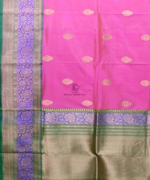 Banarasi Pure Katan Silk Handloom Pink Saree 5