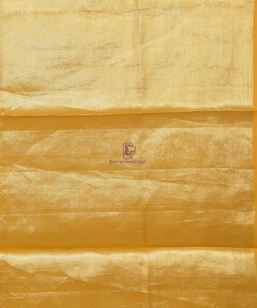 Pure Silk Banarasi Dupion Katan Handloom Saree in Yellow 7