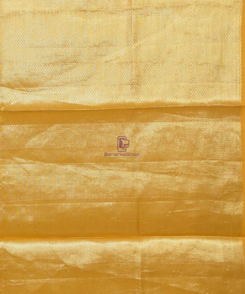 Pure Silk Banarasi Dupion Katan Handloom Saree in Yellow 4