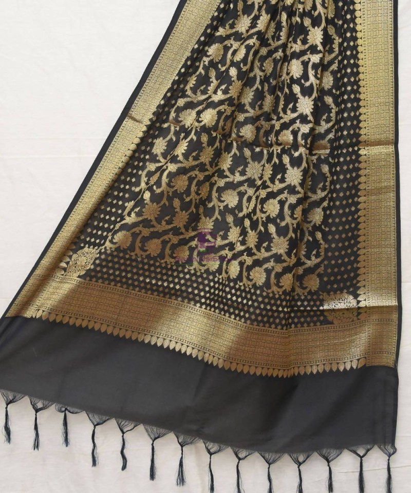 Woven Banarasi Art Silk Dupatta in Black 1