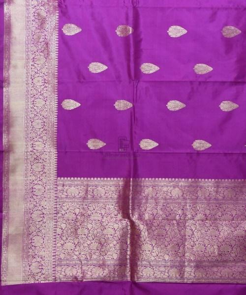 Banarasi Pure Katan Silk Handloom Purple Saree 5