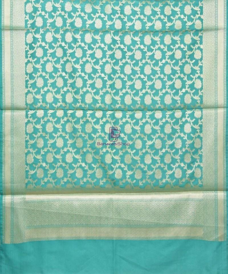 Woven Banarasi Art Silk Dupatta in Cyan Blue 2