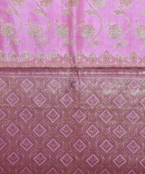 Woven Pure Tussar Silk Banarasi Saree in Taffy Pink 6